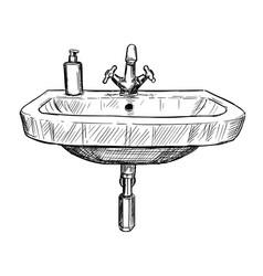 Hand drawing of sink in bathroom vector