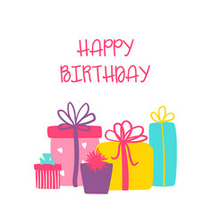 happy birthday greeting card with cute gift vector image