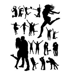 happy people detail silhouette vector image