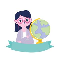 happy teachers day teacher school globe map vector image