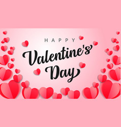 happy valentines day pink paper flying heart card vector image
