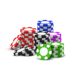 heap red blue black green betting chips vector image