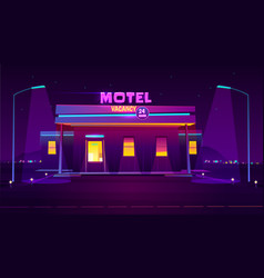 illuminated road motel building cartoon vector image