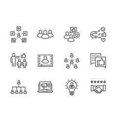 Key opinion leader flat line icons set influence vector