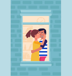 Kissing couple in window color flat vector
