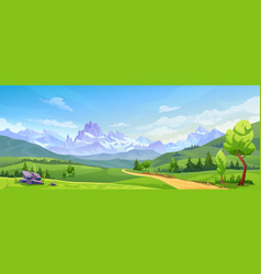landscape with mountain peaks green hills trees vector image