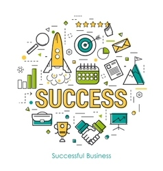 Line Art Concept - SUCCESS vector image