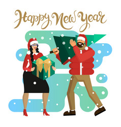 man and woman in santa hats husband and wife or vector image