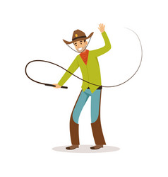 Man in american traditional costume with whip vector