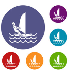 Man on windsurf icons set vector
