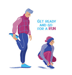 Man stretches legs woman ties laces winter run vector