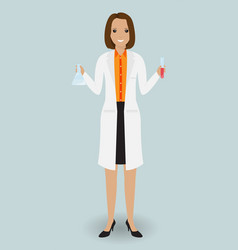 medical laboratory assistant standing with a vector image