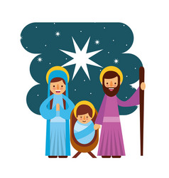 Merry christmas manger mary joseph family vector