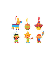 mexican cinco de mayo holiday elements set vector image