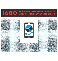 Mobile Graphs Icon with Large Pictogram Collection vector