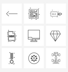 modern style set 9 line pictograph grid based vector image