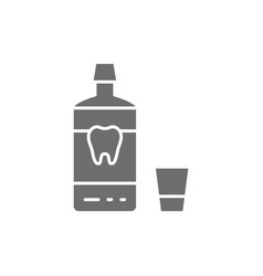 mouthwash mouth rinse dental care grey icon vector image