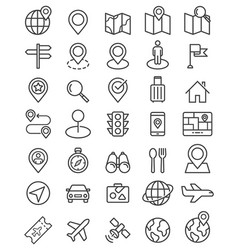 navigator pointer line icons set vector image