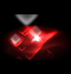 neon square and line lights on dark background vector image