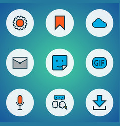 Network icons colored line set with gif sticker vector