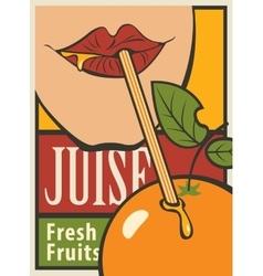 Orange of fresh juice vector