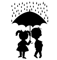 Pair of children staying under an umbrella vector image