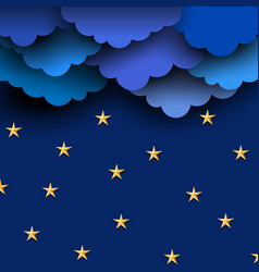 paper blue clouds on night sky with paper stars vector image
