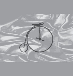 Penny farthing on a silk flag vector