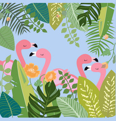 Pink flamingo in botanical tropical forest vector