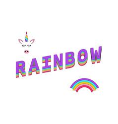 rainbow color rainbow with unicorn and text vector image