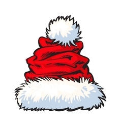 red Santa Claus hat isolated on white background vector image