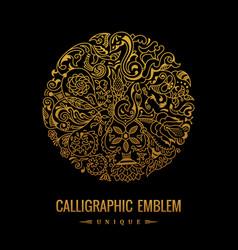round logo golden elegant calligraphic vector image