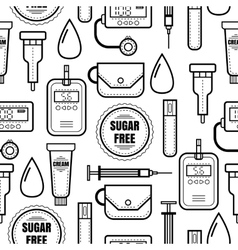 Seamless pattern Diabetes Medical colored flat vector image