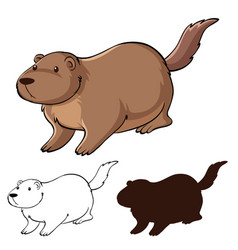Set beaver cartoon vector