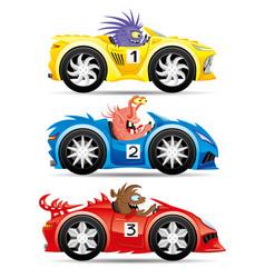 Set monsters in racing cars vector