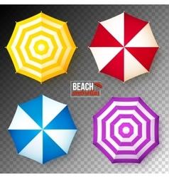 Set of colorful beach umbrellas on dark vector image