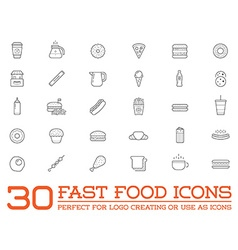 Set of Fastfood Fast Food Elements Icons and vector image