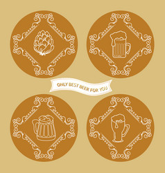 set of simple beer logo in vintage style vector image