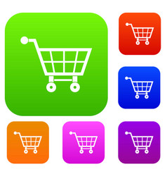 shopping cart set color collection vector image
