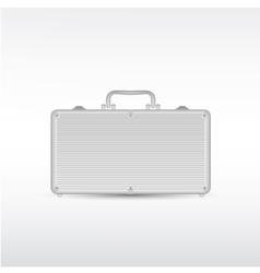 Silver metal briefcase vector image