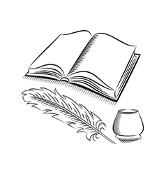 Sketch style quill and inkwell with book vector image