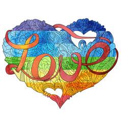 Sketchy doodle rainbow heart vector