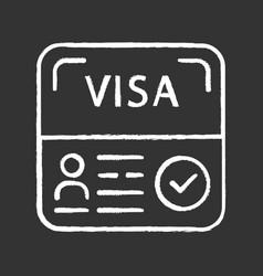 Start up visa chalk icon temporary residence vector