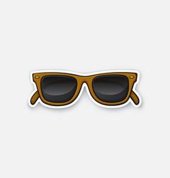 Sticker retro sunglasses horn-rimmed glasses vector