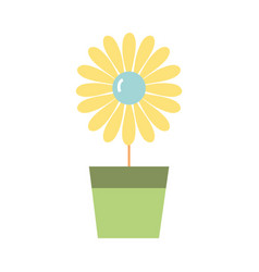 sunflower with petals inside to flowerpot vector image