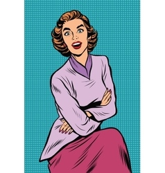 Surprised elegant woman pop art retro vector image
