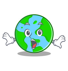 surprised world globe character cartoon vector image