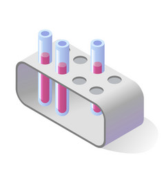 Test tubes with pink liquid and lab rack isometric vector