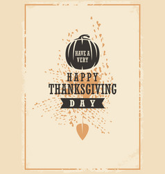 thanksgiving day typographic card design vector image