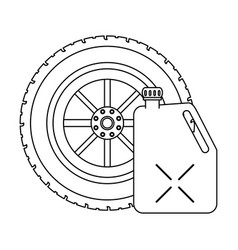 tire wheel and container in black and white vector image